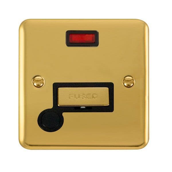 Click Deco Plus Polished Brass DPBR553BK13A Ingot Fused Connection Unit W/ Flex Outlet & Neon