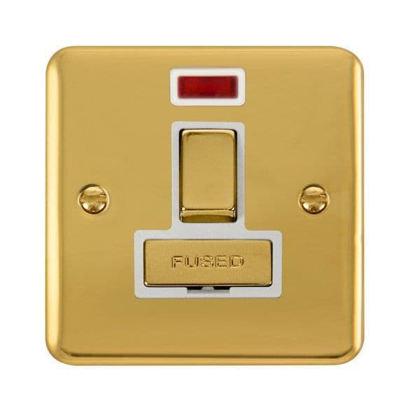 Click Deco Plus Polished Brass DPBR752WH13A Ingot DP Switched Fused Connection Unit W/ Neon - white