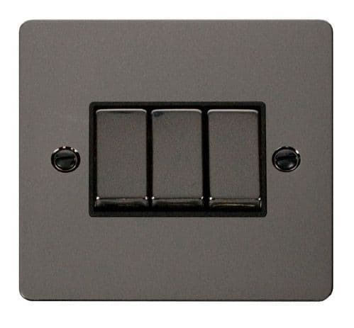 Click FPBNBK-SMART3 1G Plate 3 Apertures  3 x 10AX 2 Way Ingot Retractive Switch Modules - Black