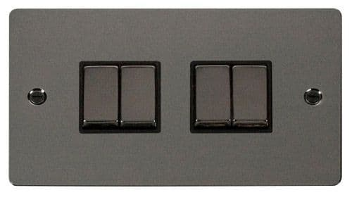 Click FPBNBK-SMART4 2G Plate 2 x 2 Apertures  4 x 10AX 2 Way Ingot Retractive Switch Modules - Black