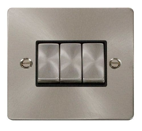 Click FPBSBK-SMART3 1G Plate 3 Apertures  3 x 10AX 2 Way Ingot Retractive Switch Modules - Black