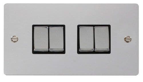 Click FPCHBK-SMART4 2G Plate 2 x 2 Apertures  4 x 10AX 2 Way Ingot Retractive Switch Modules - Black