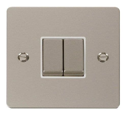 Click FPPNWH-SMART2 1G Plate 2 Apertures  2 x 10AX 2 Way Ingot Retractive Switch Modules - White