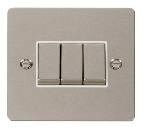 Click FPPNWH-SMART3 1G Plate 3 Apertures  3 x 10AX 2 Way Ingot Retractive Switch Modules - White