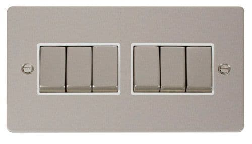 Click FPPNWH-SMART6 2G Plate 2 x 3 Apertures  6 x 10AX 2 Way Ingot Retractive Switch Modules - White
