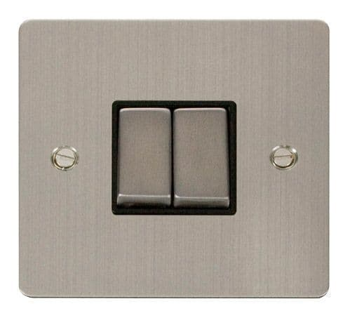 Click FPSSBK-SMART2 1G Plate 2 Apertures  2 x 10AX 2 Way Ingot Retractive Switch Modules - Black