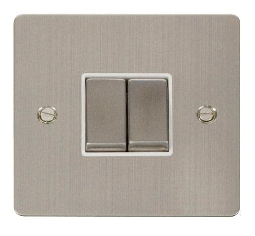 Click FPSSWH-SMART2 1G Plate 2 Apertures  2 x 10AX 2 Way Ingot Retractive Switch Modules - White