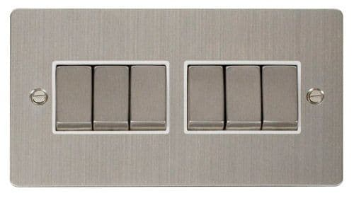 Click FPSSWH-SMART6 2G Plate 2 x 3 Apertures  6 x 10AX 2 Way Ingot Retractive Switch Modules - White
