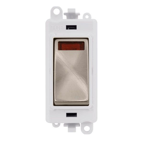 Click Grid Pro GM2018NPWBS  20AX Double Pole Switch W/ Neon Module - White - Brushed Stainless