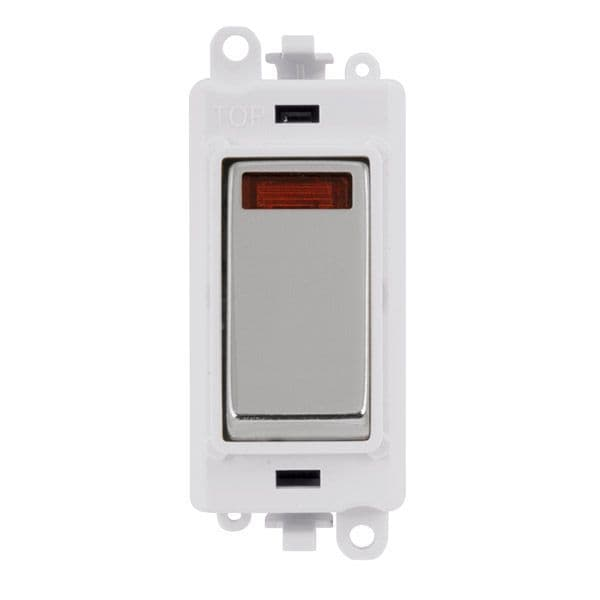 Click Grid Pro GM2018NPWCH  20AX Double Pole Switch W/ Neon Module - White - Polished Chrome