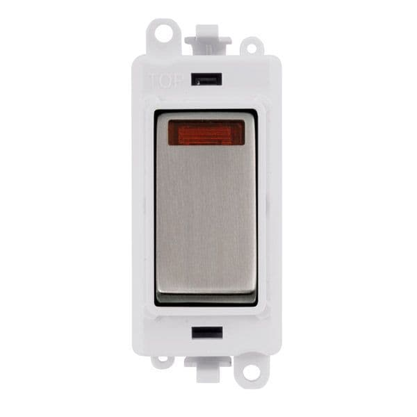 Click Grid Pro GM2018NPWSS  20AX Double Pole Switch W/ Neon Module - White - Stainless Steel