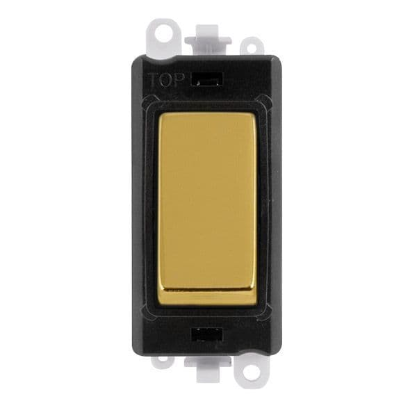 Click Grid Pro GM2075BKBR  20AX 3 Position Retractive Switch Module - Black - Polished Brass