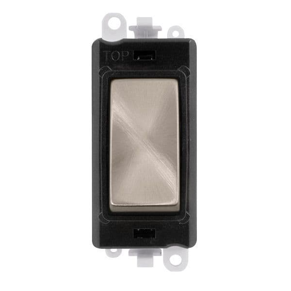 Click Grid Pro GM2075BKBS  20AX 3 Position Retractive Switch Module - Black - Brushed Stainless