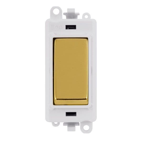 Click Grid Pro GM2075PWBR  20AX 3 Position Retractive Switch Module - White - Polished Brass
