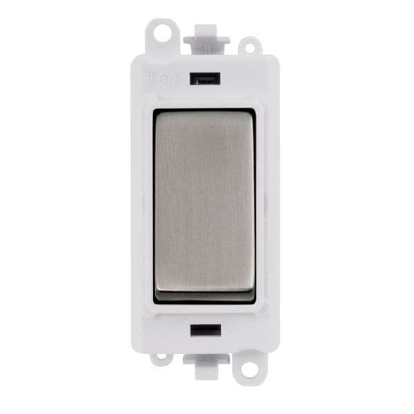 Click Grid Pro GM2075PWSS  20AX 3 Position Retractive Switch Module - White - Stainless Steel