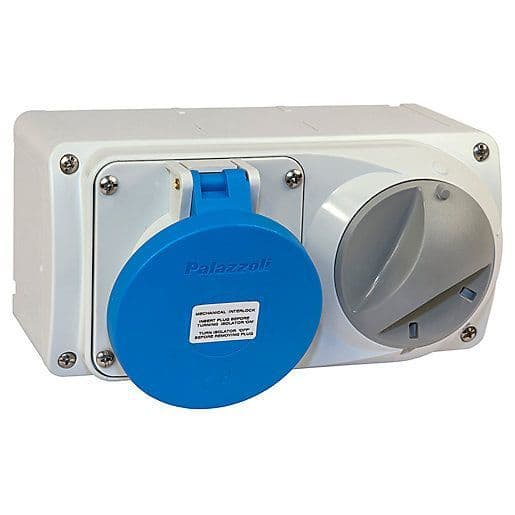 Lewden PM32/454226LW 32A 2P+E 230V Switched Socket IP44