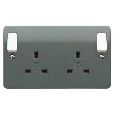 MK Electric K2746GRA Logic Plus Graphite 2 Gang DP Socket W/ White Rockers & Dual Terminals 13A