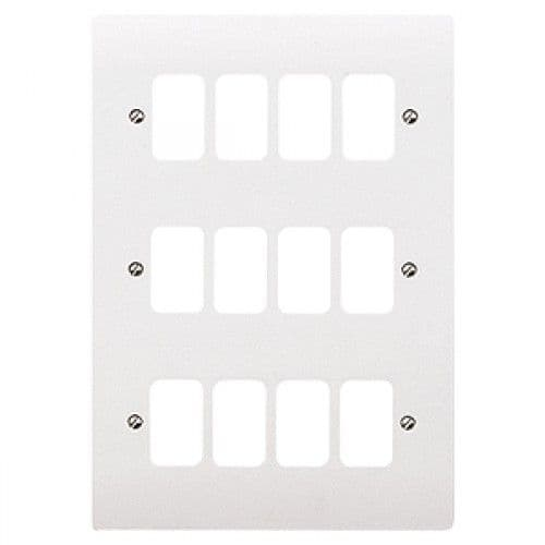 MK Electric K3639WHI Logic Plus White 12 Module Frontplate 206mm x 146mm