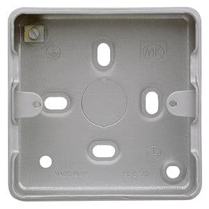 MK Electric K8891ALM Metalclad Plus Stove Enamel Aluminium Surface Mounting Box.