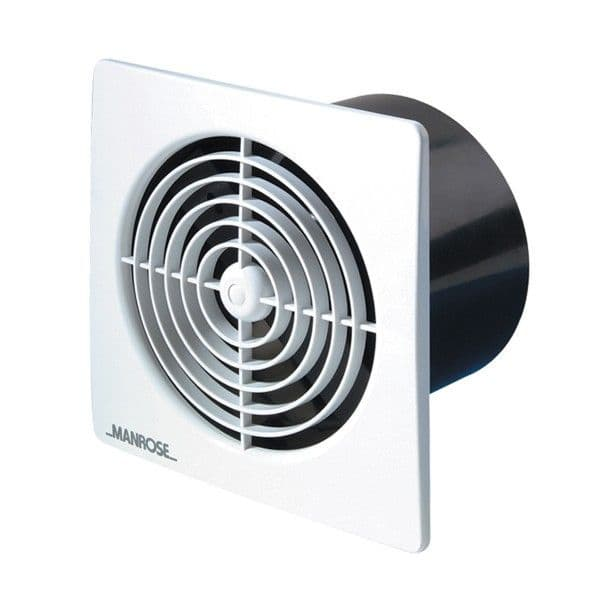 """Manrose LP100STW Lo Profile 4"""" Extractor Fan Slimline Range with Timer in White"""
