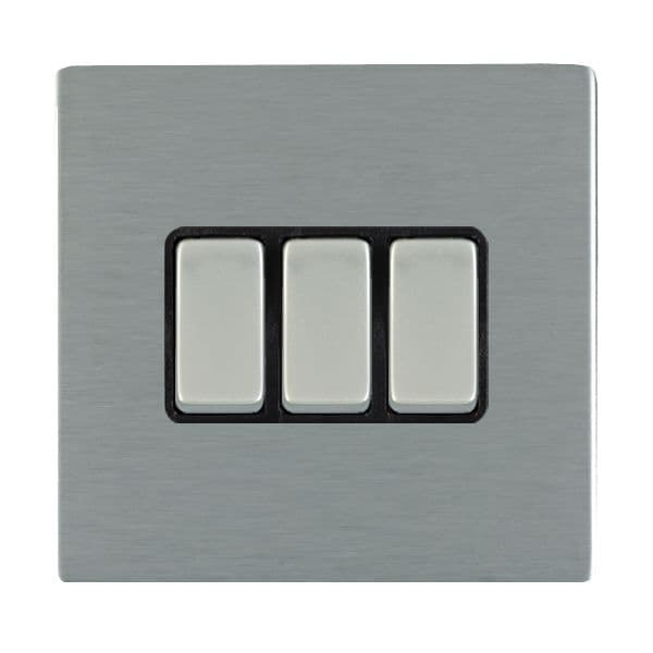 Sheer CFX 84CR23SS-B and 84CR23SS-W Satin Steel 10a Light Switch 3G 2W