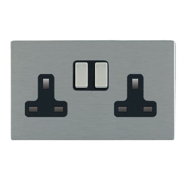 Sheer CFX 84CSS2SS-B and 84CSS2SS-W Satin Steel 13a Double Socket