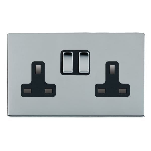 Sheer CFX 87CSS2BC-B and 87CSS2BC-W Bright Chrome 13a Double Socket