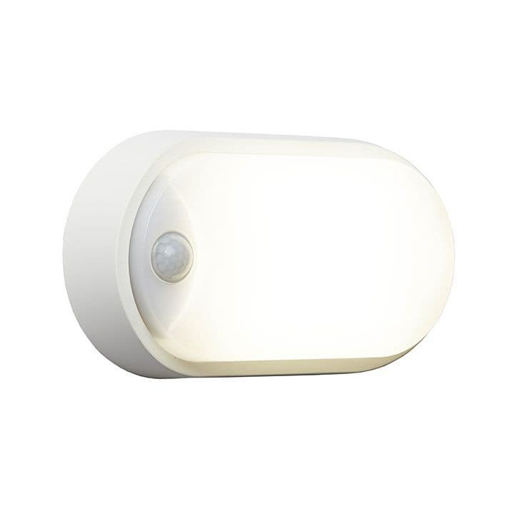 Ansell AHELED/OW/PIR 12W Oval Bulkhead CCT White With PIR