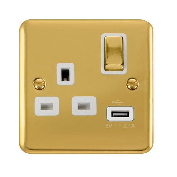 Click Deco Plus Polished Brass DPBR571WH 13A Ingot 1 Gang Switched Socket 2.1A USB Outlet - White