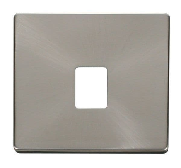 Click Definity SCP115BS Single RJ11/RJ45 Socket Outlet Cover Plate - Brushed Stainless