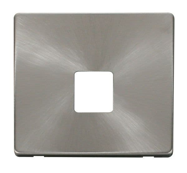 Click Definity SCP120BS Single Telephone Socket Cover Plate - Brushed Stainless