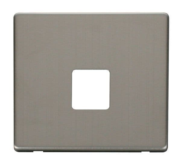 Click Definity SCP120SS Single Telephone Socket Cover Plate - Stainless Steel
