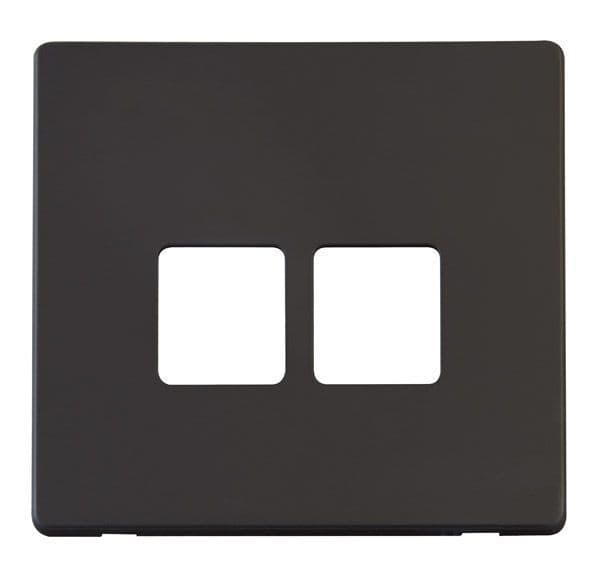 Click Definity SCP121BK Twin Telephone Socket Cover Plate - Black