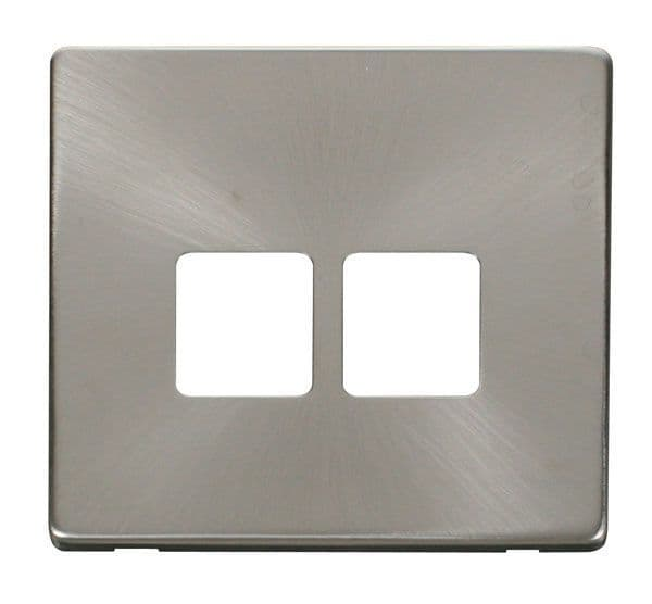 Click Definity SCP121BS Twin Telephone Socket Cover Plate - Brushed Stainless