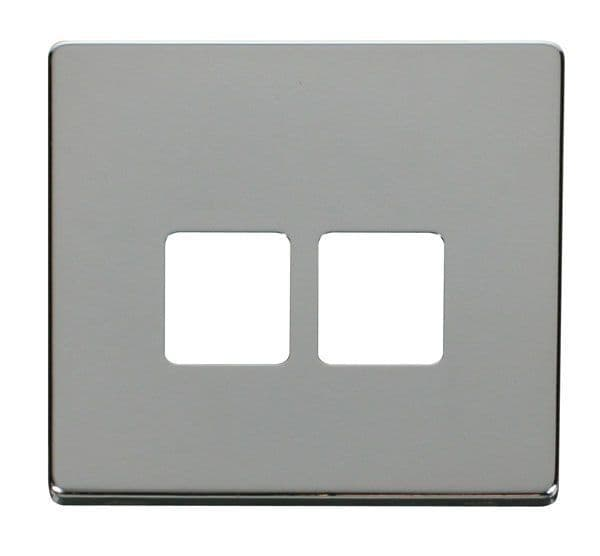 Click Definity SCP121CH Twin Telephone Socket Cover Plate - Chrome