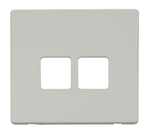 Click Definity SCP121PW Twin Telephone Socket Cover Plate - White
