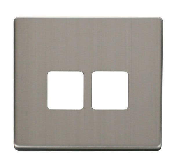Click Definity SCP121SS Twin Telephone Socket Cover Plate - Stainless Steel
