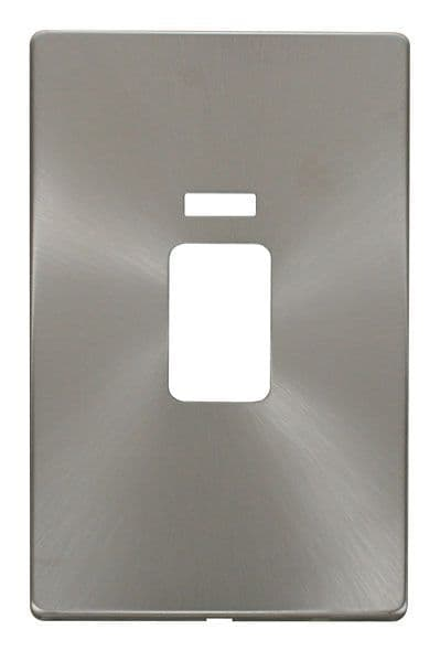 Click Definity SCP203BS 45A 2 Gang Plate Switch With Neon Cover Plate - Brushed Stainless