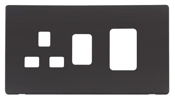 Click Definity SCP204BK 45A Switch + 13A Switched Socket  Cover Plate - Black
