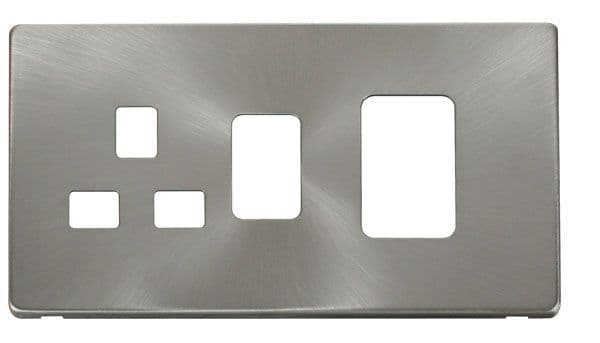 Click Definity SCP204BS 45A Switch + 13A Switched Socket  Cover Plate - Brushed Stainless