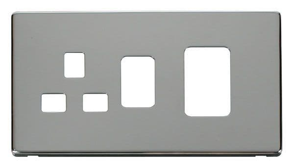 Click Definity SCP204CH 45A Switch + 13A Switched Socket Cover Plate - Chrome