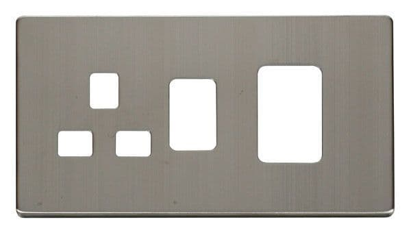 Click Definity SCP204SS 45A Switch + 13A Switched Socket Cover Plate - Stainless Steel