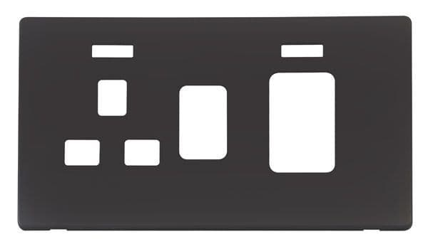Click Definity SCP205BK 45A Switch + 13A Sw. Socket With Neons Cover Plate - Black