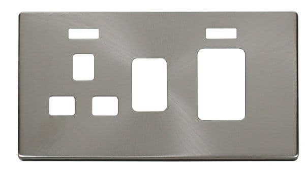 Click Definity SCP205BS 45A Switch + 13A Sw. Socket With Neons Cover Plate - Br. Stainless