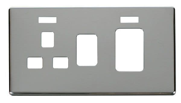 Click Definity SCP205CH 45A Switch + 13A Switched Socket With Neons Cover Plate - Chrome