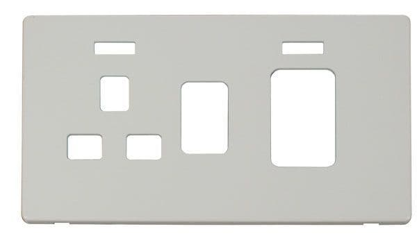 Click Definity SCP205PW 45A Switch + 13A Switched Socket With Neons Cover Plate - White