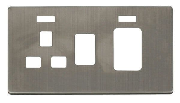 Click Definity SCP205SS 45A Switch + 13A Switched Socket With Neons Cover Plate - St. Steel