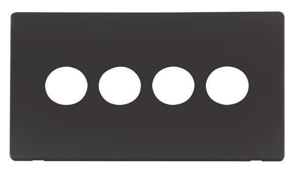 Click Definity SCP224BK 4 Gang Toggle Switch Cover Plate - Black