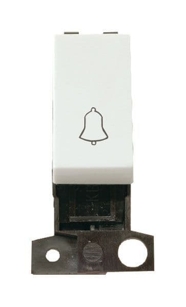 Click Mini Grid MD005WH 1 Way 10A Retractive Switch Module Bell - Flow White
