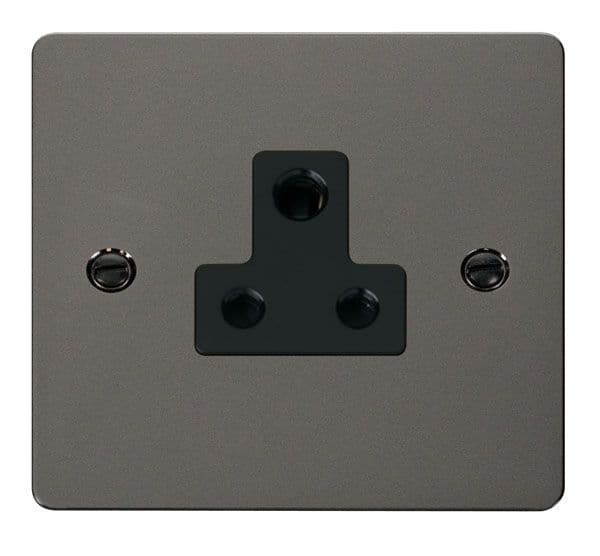 Click Scolmore FPBN038BK 5A Round Pin Socket Outlet  - Black